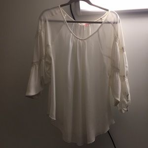 M White Top with Draped Sleeved
